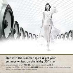 Step in to the Summer spirit and get your whites on at  Mövenpick Hotel Jumeirah Lakes Towers this Friday 30th May